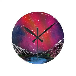 Relógio Redondo Pintura de paisagem estrelado do céu da arte da