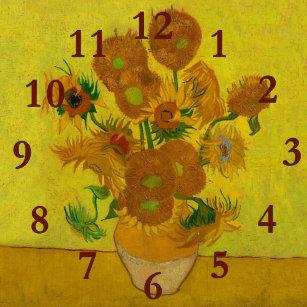 d47974acdd5 Relógio Redondo pintura do vaso dos girassóis de Vincent van Gogh