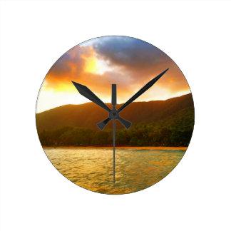 Relógio Redondo Por do sol do molhe da angra da palma