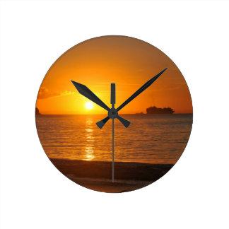 Relógio Redondo Por do sol no caribe
