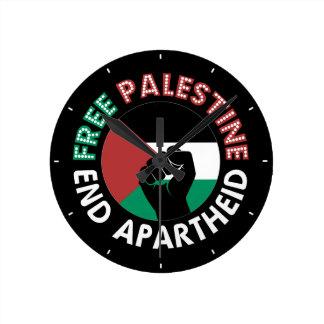 Relógio Redondo Preto livre do punho da bandeira do Apartheid do