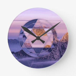 Relógio Redondo Pulso de disparo abstrato da paisagem da montanha