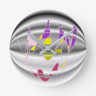 Relógio Redondo Pulso de disparo colorido da arte abstracta