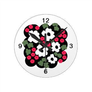 Relógio Redondo Pulso de disparo de parede do design floral, com
