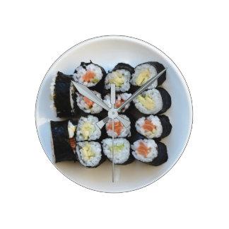 Relógio Redondo Pulso de disparo de parede do sushi