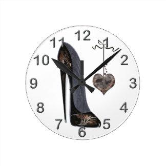 Relógio Redondo Pulsos de disparo da arte dos calçados do estilete