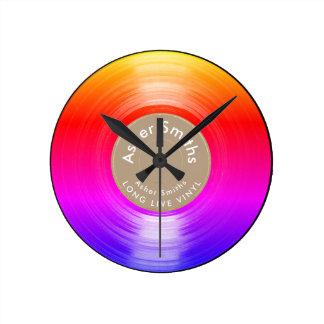 Relógio Redondo registro de vinil, um colorido