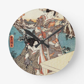 Relógio Redondo Rolo velho da gueixa japonesa do ukiyo-e do