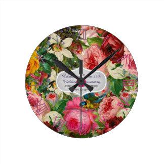 Relógio Redondo ROSAS do aniversário de casamento vintage -