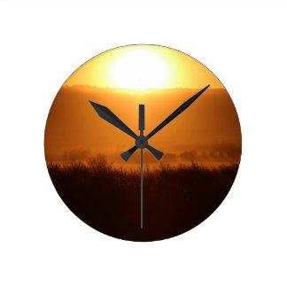 Relógio Redondo Scottsbluff Nebraska que cultiva o por do sol da