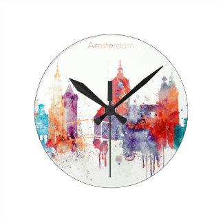 Relógio Redondo Skyline da aguarela de Amsterdão