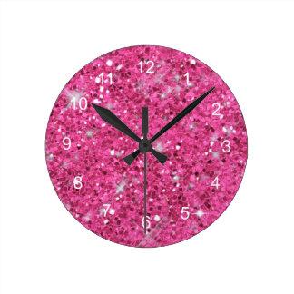 Relógio Redondo Teste padrão cor-de-rosa do brilho