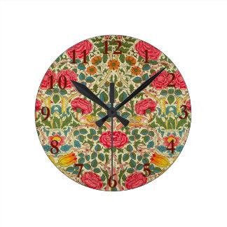 Relógio Redondo Teste padrão floral do vintage de chintz