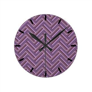 Relógio Redondo Teste padrão malva do weave do dobro das listras