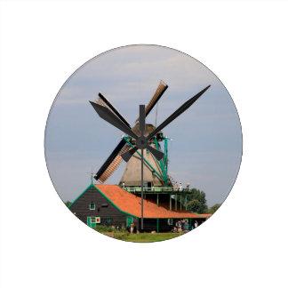 Relógio Redondo Vila holandesa do moinho de vento, Holland 3