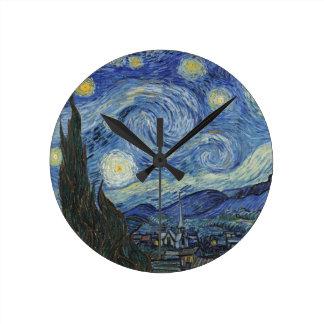Relógio Redondo Vincent van Gogh | a noite estrelado, em junho de