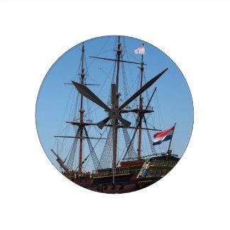 Relógio Redondo VOC de madeira do navio da vela de Amsterdão -