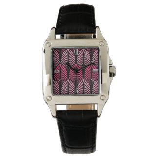 Relógio Teste padrão da pena do art deco, cor-de-rosa e