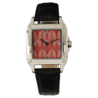 Relógio Teste padrão da pena do art deco, tanjerina