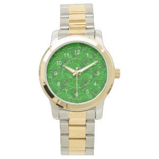 Relógio Teste padrão esmeralda abstrato do papel de parede