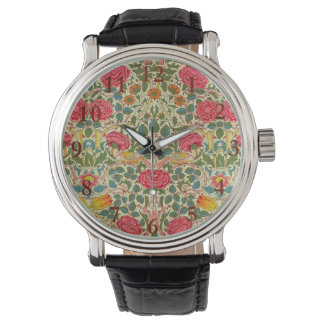 Relógio Teste padrão floral do vintage de chintz
