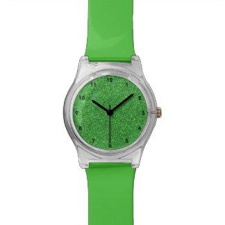 Relógio verde do brilho