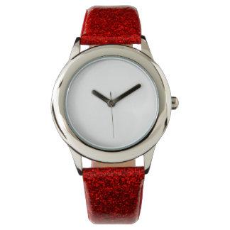 Relógio vermelho da correia do brilho do miúdo
