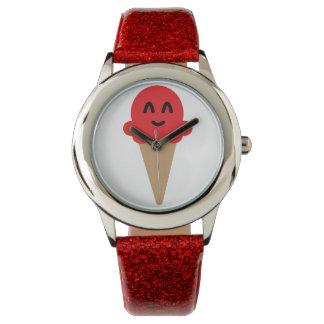 Relógio VERMELHO do sorvete de Emoji