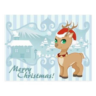 Rena bonito dos desenhos animados do Natal do Cartão Postal
