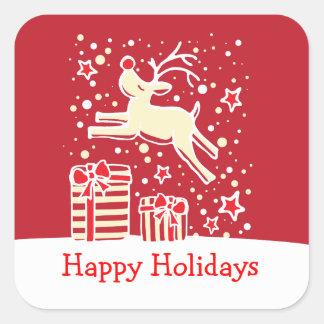 Rena do Natal que salta boas festas a etiqueta Adesivo Quadrado