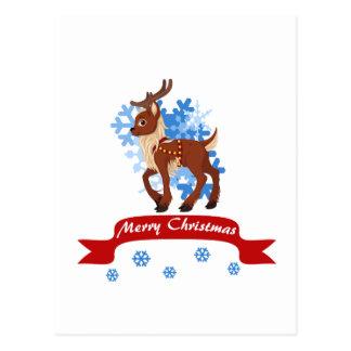 Rena e flocos de neve cartão postal