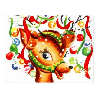 Rena festiva do Natal Cartões Postais