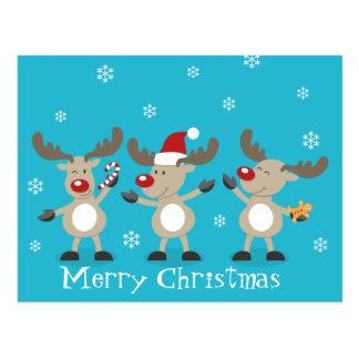 Renas engraçadas do Feliz Natal Cartão Postal