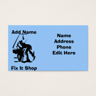 Reparo do mecânico ele cartões da loja cartão de visita