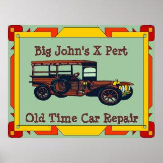 Reparo velho do carro do tempo do X-Pert de John Pôster