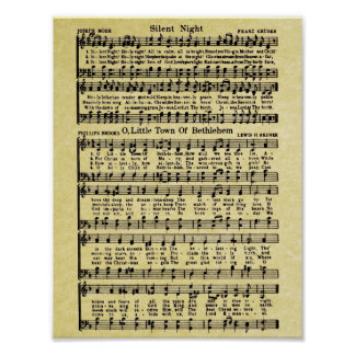 Réplica da partitura do natal vintage pôster