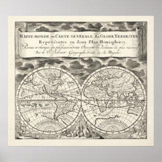 Réplica do poster do Semi-Brilho do mapa do mundo