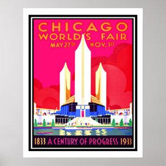 Reprodução do vintage da feira de mundos de poster