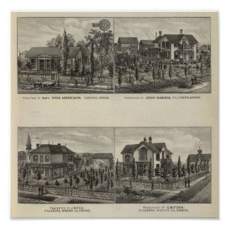 Residências, Florença, e Hillsboro, Kansas Poster