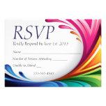 Respingo de roda elegante do arco-íris de RSVP - 4 Convites Personalizado