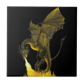 Respiração do fogo do dragão azulejo quadrado pequeno