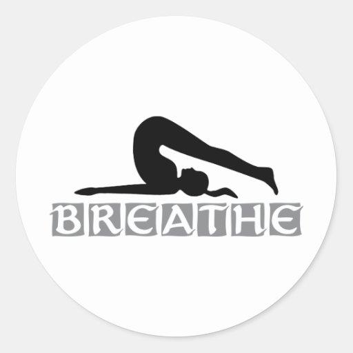 RESPIRE a ioga Adesivo Em Formato Redondo