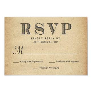 Resposta antiga rústica do casamento da tipografia convite 8.89 x 12.7cm