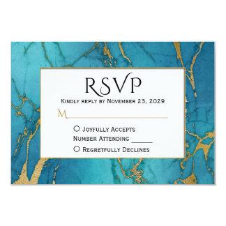 Resposta azul do casamento do mármore RSVP do ouro Convite 8.89 X 12.7cm