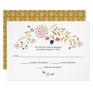 Resposta do casamento do jardim do coral e do convite 8.89 x 12.7cm