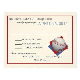 Resposta do papel de feltro do basebol convites personalizados