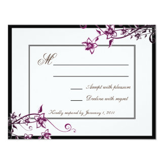 Resposta floral branca RSVP do casamento da flor Convite 10.79 X 13.97cm