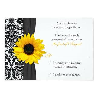 Resposta preta amarela do casamento tema damasco convite 8.89 x 12.7cm