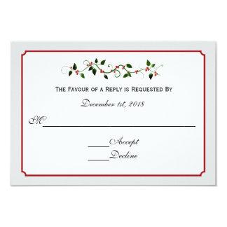 Resposta RSVP do casamento do feriado de dezembro Convite 8.89 X 12.7cm