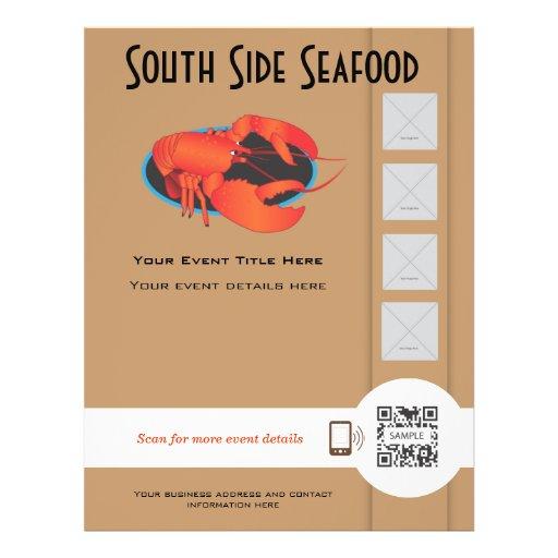 Restaurante do marisco do modelo do insecto panfleto coloridos